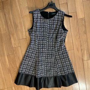 Ralph Lauren Fit & Flare Dress Faux Leather EUC
